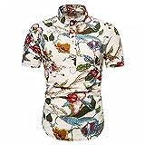 Playa Shirt Hombre Verano Personalidad Hombre Henley Camisa Color Estampado Manga Corta Deportiva Camisa Botón Placket Hawaiana Camisa Informal Transpirable Correr Shirt T-PL20 L