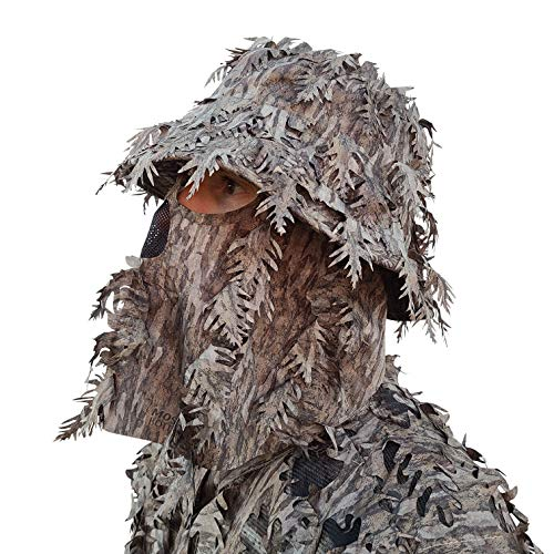 QuikCamo Mossy Oak Bottomland (New) Camo Bucket Hat with Built-in 3D Leafy Face Mask, Turkey Hunting Gear for Ghillie Suits and Bowhunting (Adjustable, One Size Fits Most)
