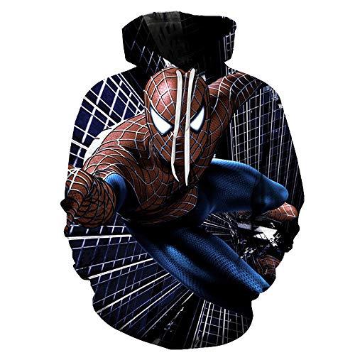 TLLW Sweat à capuche unisexe 3D à manches longues avec cordon de serrage et grandes poches - Taille S à 6XL - - XL