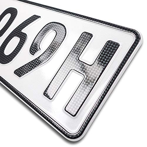 schildEVO 1 Carbon Kfz Kennzeichen | Historisch | Oldtimer | H - Kennzeichen | OFFIZIELL amtliche Nummernschilder | DIN-Zertifiziert – EU Wunschkennzeichen mit individueller Prägung | Autokennzeichen