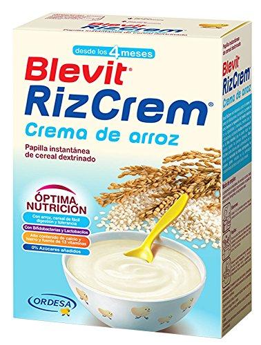 Blevit Rizcrem, 1 unidad 300 gr. Papilla elaborada a partir de crema de arroz con bifidobacterias y lactobacilos.