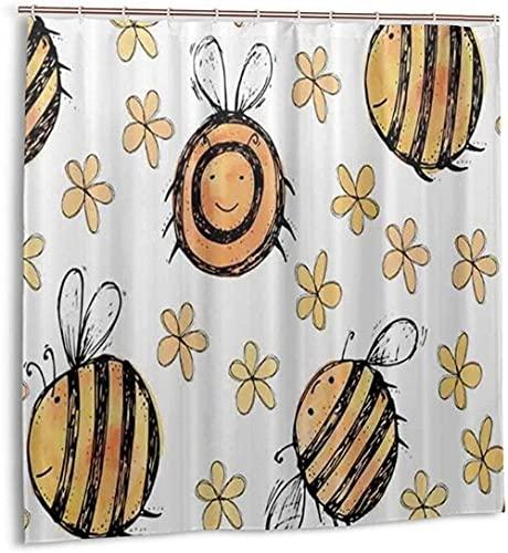 Duschvorhang Aquarell Hellgelb Orange Biene Großer Wasserdichter Stoff Badvorhang für Badezimmerdekoration mit Haken180*180cm oein
