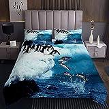 Netter Pinguin Tagesdecke 240x260cm Polartier Bettüberwurf Lustige Pinguine Gedruckte Steppdecke für Jungen Mädchen Winterblau Natur Wohndecke