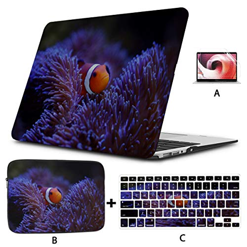 Mac Covers Clown Fish Anemone And Clown Macbook Air Accessories Hard Shell Mac Air 11'/13' Pro 13'/15'/16' With Notebook Sleeve Bag For Macbook 2008-2020 Version
