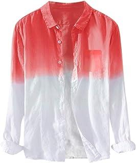 SANFASHION Men Long Sleeve Shirt Top Gradient Button Collar Casual Sport Lightweight Breathable 2020 Newest Spring Summer ...