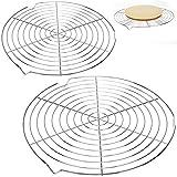 COM-FOUR 2x Kuchengitter für gleichmäßiges, schnelles Auskühlen - Abkühlgitter rund - Kuchenrost aus Edelstahl für Küche und Pâtisserie - Ø 32 cm