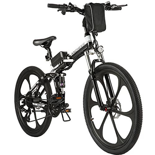 ANCHEER Bicicletta Elettrica Pieghevole, 20'/27' Ebike per Adulti con Motore 250W, Bici da Pendolarismo Batteria 36V 8Ah, Mountain Bike Professionale 7/21 Velocità (Pieghevole 26' 8Ah Nero)