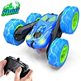Jepwe Remote Control Car for Boys RC Stunt Cars, Upgraded 4WD 2.4GHz High Speed Race Car with Headlights - Double Sided Rotating Tumbling 360 Degree Flips RC Cars for 4-12 Years Old Kids Boys