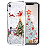Maxdara Christmas Case for iPhone XR, Merry Christmas Tree Pattern Glitter Liquid Bling Sparkle Pretty Cute Case for Girls Children Women Gifts XR Christmas Case 6.1 inches (Tree)