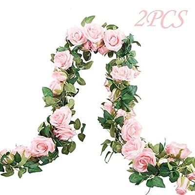 Meiliy 2 Pack 6.6 FT Fake Rose Vine Flowers Plants Artificial Flower Home Hotel Office Wedding Party Garden Craft Art Decor (Blush Pink Rose Garland 2 PCS)