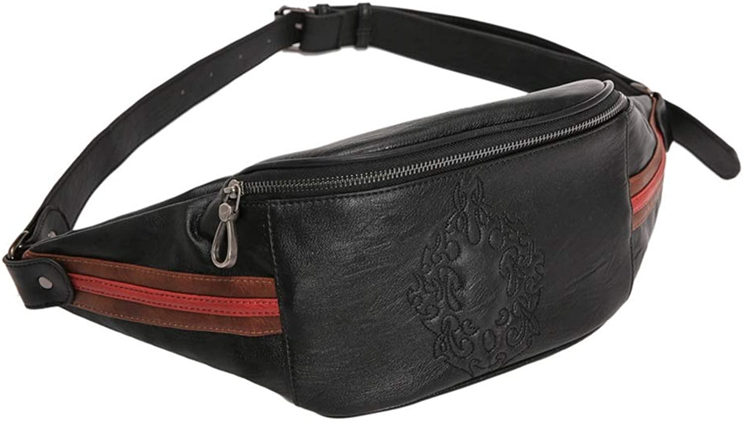 Outdoor Sports Waist Pack Unisex Unisex Black Leather Waist Bag Messenger Fanny Pack Bum Bag Waistpack Motorcycle Riding Cycling Travel Outdoors Sports for Running Workout Hiking Fitness Cycling