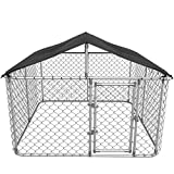 Kullavik Dog Kennel Outdoor with Heavy Duty Galvanized Chain Link Dog Cage Chicken Coop Hen House, UV & Water Resistant Black Proof Cover (W108D108H65)