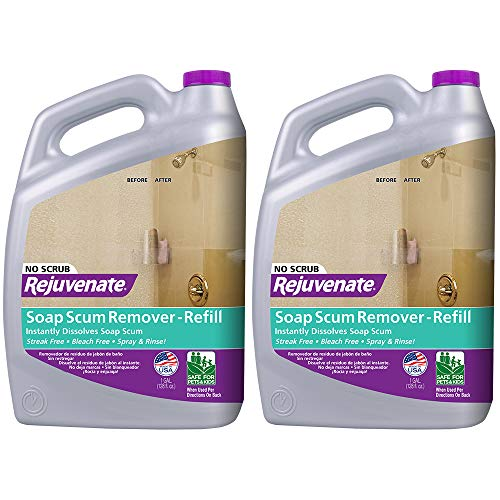 Rejuvenate Scrub Free Soap Scum Remover Non-Toxic Non-Abrasive Cleaning Formula - Spray and Rinse for Streak Free Finish on Glass, Ceramic Tile, Chrome, Plastic and More (2 Pack)