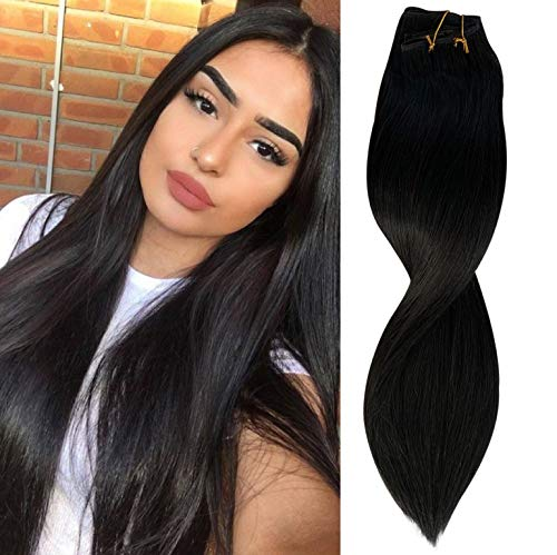 Dark Clip In Hair Extensions Double Weft 1B Natural Black Real Human Hair Extensions 16 Inch 120g Clip On Hair Extensions For White Women Soft Straight Hair Extension Full End 17 Clips 7 Pieces #1B