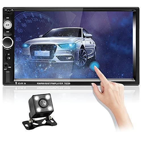 Hikity Autoradio Bluetooth 2 DIN Coche Radio 7 Pulgadas Pantalla Táctil Estéreo De Coche Mirror Link, FM, SWC, USB, Entrada AUX + Cámara de Visión Trasera