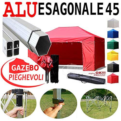 Gazebo Rosso 4,5x3 Pieghevole Alluminio a Forbice Ombrello Professionale tendone PVC a Fisarmonica piantone Esagonale