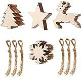 ZARRS Weihnachtsanhänger 40 Stück Holzanhänger Weihnachten Holzverzierung für Weihnachtsschmuck Weihnachtsanhänger Baum Geschenkanhänger