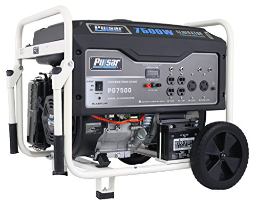 Pulsar PG7500 7500W Peak 6000W Rated Portable Gas-Powered Generator with Electric Start