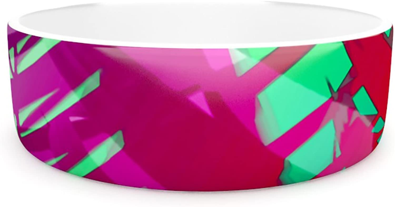 Kess InHouse Alison Coxon Hot Tropical  Pet Bowl, 7Inch, Pink Red