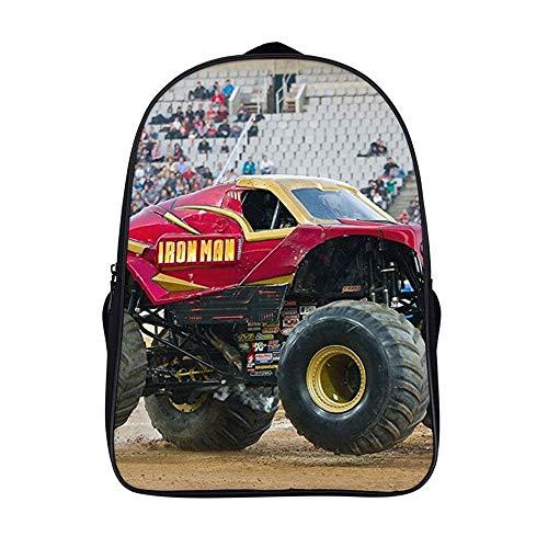 Xiahail Stilvolle Schultasche für Mädchen und Jungen, Reiserucksack, Studenten-Daypack, strapazierfähig, multifunktional, Freizeit-Bookbag, Rot Monster Truck Stunt Fahrzeug