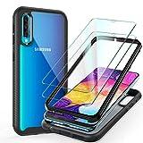 ivencase Funda Samsung Galaxy M01 + [2 Pack] Cristal Templado, [Ultra Hybrid] TPU + PC Parachoques, Antigolpes Transparente, 360 Grados Anti-Arañazos Carcasa para Samsung Galaxy M01 Negro