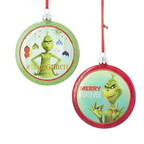 Kurt Adler 3.4' Grinch Blowmold Disc Ornament 2/A