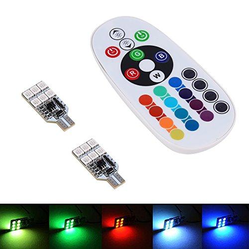 Bombillas LED para interior de coche, 2x RGB LED T10 168194 2825 W5W Mapa Domo Interior 16 colores Bombillas + Control remoto
