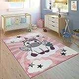 Paco Home Alfombra Habitación Infantil Niña Moderna Unicornio sobre Las Nubes En Rosa Y Lila, tamaño:Ø 120 cm Redondo