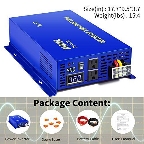 XYZ INVT 2000 Watt Pure Sine Wave Inverter 48V DC to AC 110V 120V, 2000W Power Invert Surge 4000W Power Converter for Car RV Solar System. (2000W 48V 120V)