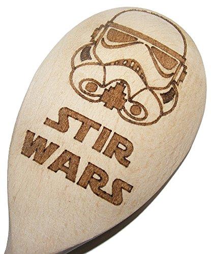 FastCraft Stars Wars inspirierter Backlöffel aus Holz, für die Küche, zum Kochen, Geburtstag, Geschenk für Fans von Darth Vader, Stromtrooper oder der Jedi Republic, mit Laser graviert