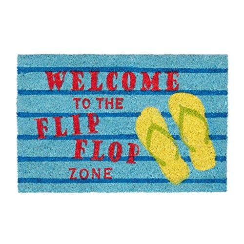 Relaxdays Fußmatte Kokos Spruch FLIP FLOP ZONE 40 x 60 Kokosmatte mit rutschfester PVC Unterlage bunte Türmatte Fußabtreter aus Kokosfaser als Schmutzfangmatte und Sauberlaufmatte Türvorleger, blau