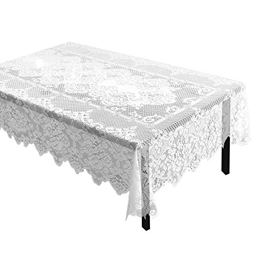 Juvale Lace Rectangular Tablecloth with Elegant Floral Patterns for Parties, Weddings, Baby Showers, Dining Tables, White, 60 x 97 Inches