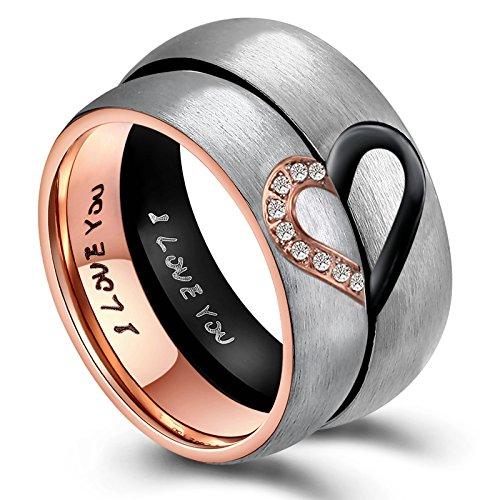ANAZOZ Sie & Ihn für Real Love Herz Verlobungsringe Edelstahl Ringe Hochzeit Trauringe Bandringe 6MM (Preis nur für 1) (Herren 58 (18.5))