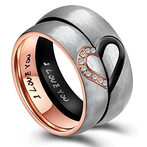 ANAZOZ Hers & Women's for Real Love Heart Promise Ring Stainless Steel Wedding Engagement Bands 6MM US Size 7.5
