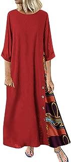 LIM&Shop Womens Round Neck 3/4 Sleeves A-line Casual Tshirt Dress Oversize Midi Dresses Loose Plus Size Dresses