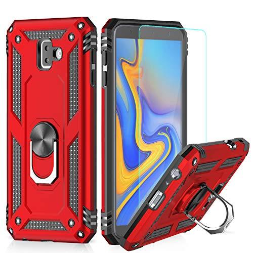 LeYi Funda Samsung Galaxy J6 Plus Armor Carcasa con 360 Anillo iman Soporte Hard PC y Silicona TPU Bumper antigolpes Fundas Carcasas Case para movil J6 Plus con HD Protector de Pantalla,Rosa