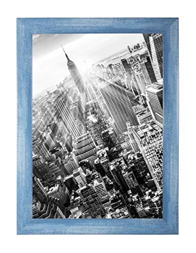 FRAMO 35 Puzzlerahmen 50 x 70 cm, Farbe: Hellblau Gewischt, handgefertigter Puzzle Bilderrahmen mit bruchfester Anti-Reflex Kunstglasscheibe, Rahmen Breite: 35mm, Außenmaß: 55,8x75,8cm