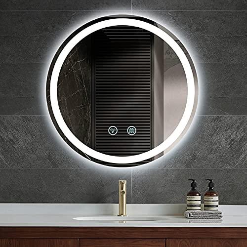 HHDD Baño Retroiluminado Montado en la Pared con Luces Espejo de Tocador Redondo Sin Marco Iluminado por LED con Función de Atenuación e Interruptor de Sensor Táctil