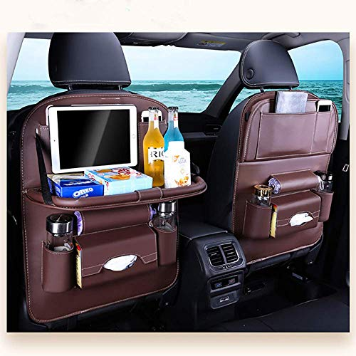 Bolsillos organizadores de almacenamiento para el asiento trasero del automóvil, Fundas protectoras de alfombrilla impermeable para asiento de automóvil multifunción con soporte para iPad / tableta (2