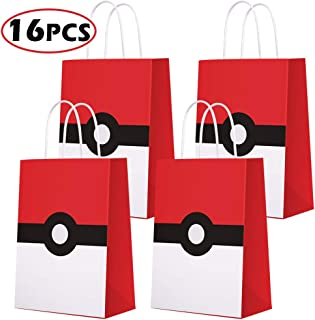 Game Theme Birthday Party Paper Gift Bags for Pokemon Party Supplies Birthday Party Decorations - Party Favor Goody Treat Candy Bags for Nintendo Game Kids Adults Birthday Party Decor- 16 PCS