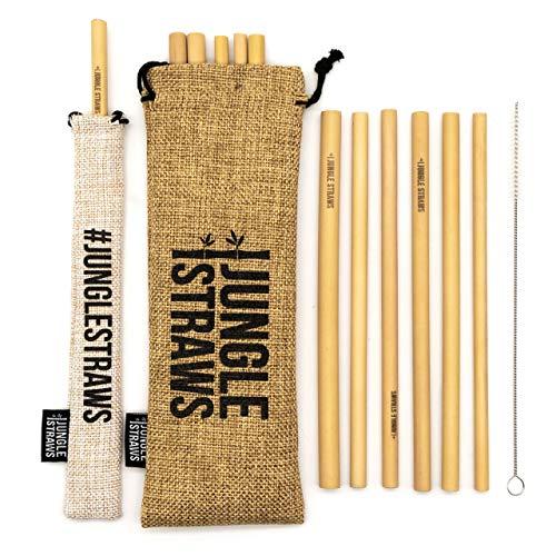 Jungle Straws® Pajitas de Bambú Reutilizables | 100% Natural y Ecológico | Biodegradable y Orgánico | 12 de Paquete Incluye Cepillo de Limpieza, x 2 Bolsas | Libre de Plástico | Fabricadas en Vietnam