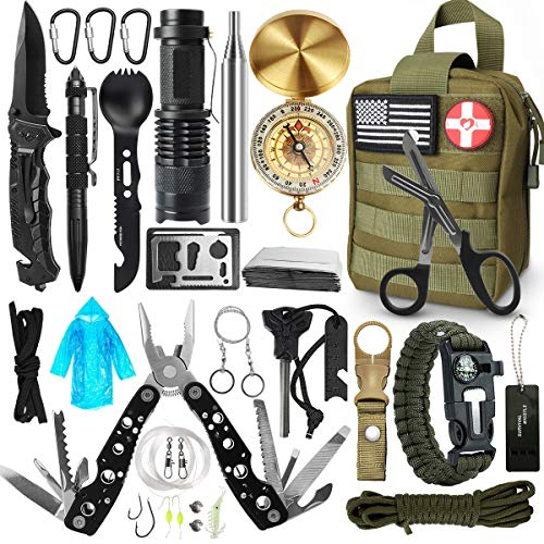 BAOLYDA Gifts for Men Dad Husband, Survival Gear and Equipment Emergency 32 in 1, Survival Kit Cool Gadget Survival Gear, Outdoor Survival Tool for Hiking Hunting Camping Adventures Outdoors Sport