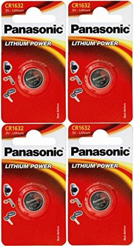 Panasonic CR1632, 1632 3 V, Lithium-Batterie, 4 Batterien pro Packung