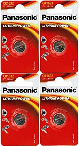 Panasonic CR1632 - Pilas de litio (tipo botón, 3 V, 4 unida