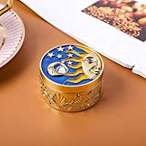 GLOGLOW Jewelry Storage Box, Small Jewelry Organizer Creative Retro Trinket Storage Box Vintage Case Craft Gift Ornament for Ring Necklace Earring(Gold)