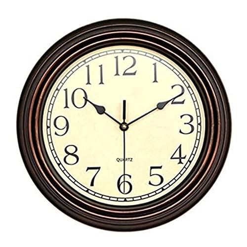 XinLuMing Gartenuhren Outdoor wasserdichte, Klassische Vintage Scaleless Digital Quartz Outdoor Uhren für den Garten Wandmontage Kehrwerk Batteriebetriebene Außenuhr Runde Holz Farbe 30cm (Color : E)