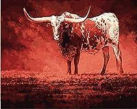 デジタル インテリア キャンバスの油絵子供 デジタル油絵 数字キッ アートグラフィティ装飾カスタムギフト 40x50センチ フレームレス抽象的なレッドブル