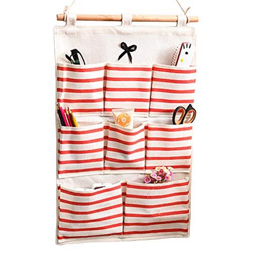 Eamoney Hanging Storage Bag Stripe Multi-Mounted Living Room Bathroom Wall Door Closet Hanging Bag Organizer for Phone Keys 3#