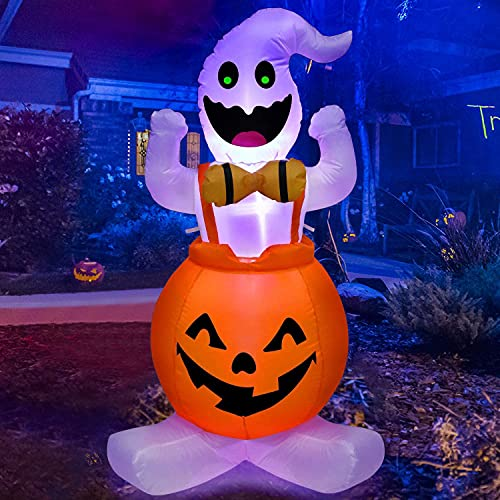 Halloween Inflatable Decorations Ghost Pumpkin – 4FT Halloween Blow Up Decor with LED Lights Halloween Inflatables for Outdoor Holiday Yard Home Garden Lawn Party Decoration