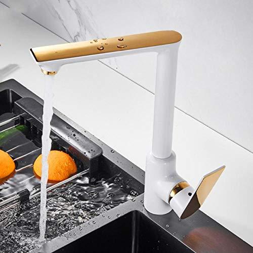Grifo de fregadero de cocina Grifo de cocina de oro blanco Mezclador de agua fría y caliente Grifos de cocina montados en cubierta de grúa